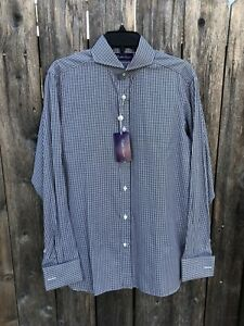 NWT $395 Ralph Lauren Purple Label French Cuff Cotton Shirt Black Plaid Sz 15