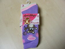 3 PAIRS OF WOMENS / LADIES COLOUR TEDDY BEAR THERMAL SOCKS SIZE 4 - 8  - NEW