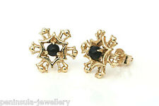 9ct Gold Black Onyx Snowflake Stud earrings Made in UK Gift Boxed Studs