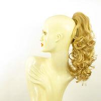 Postiche queue de cheval femme bouclée blond clair doré ref 3 en lg26