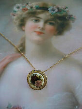 ROMANTIC OLD VINTAGE ROSES CHINA BROOCH PIN PENDANT ON GOLD CHAIN NECKLACE