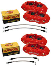 WILWOOD CALIPER,PAD,& LINE KIT,RED,FRONT & REAR,1965-1982 CORVETTE C2,C3