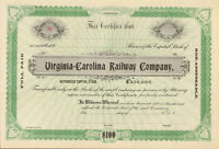 Virginia  Carolina Railway > railroad company stock certificate south share