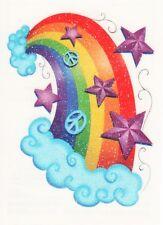 Temporary Tattoo, Einmal Tattoo  Bullseye SGRT13-08, bunter glitzer Regenbogen