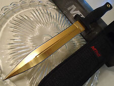 Mtech Gold Titanium Dual Edge Belt/Boot Knife Dagger 5mm Full Tang 20-77 11 1/4""