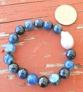'Lone Pearl' Bracelet  Deep Blue Agate, multi shade Blue Agate, Baroque Pearl