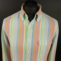 GANT Mens Oxford Shirt LARGE Long Sleeve Multicoloured Fitted SLIM Striped