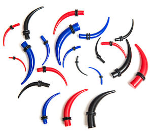 Ear stretcher kit set of curved tapers expanders tunnels plugs red blue or black