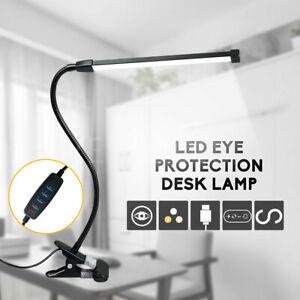Modern Clip On LED Desk Lamp Eye Care USB Power Dimmable Light Adjustable Clamp