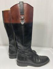 Frye Jaden Black Brown Leather Tall Boots Flat Women's Size 8B Full Zip Button