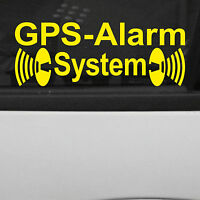 2 Aufkleber gelb gespiegelt GPS Alarm System für Auto Fenster Tattoo Deko Folie
