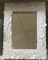 White Ornate Floral Flowers Mantle Dressing Table Wall Rectangle. Mirror NEW