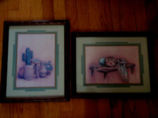 Spring Sale Home Interior Pair of Southwest pictures Cactus & clay pots flowers