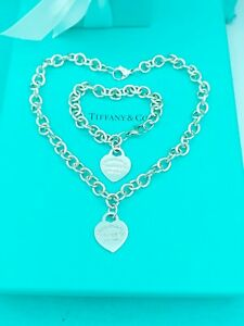 "Tiffany &Co Silver Heart Tag Toggle Necklace16.5"" & Bracelet 8.5"" Good Condition"