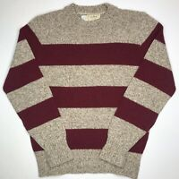 VTG LL Bean Sweater Mens Medium Stripe Wool Blend Knit Pullover Crew Neck USA