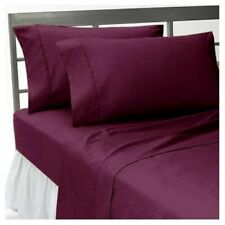 1000Thread Count Egyptian Cotton 7Pc Bedding Items UK Double Size Wine Solid