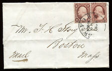 USA #25 & 26 Type I and Type II combo on 1859 Folded Letter RARE!!  PH3432