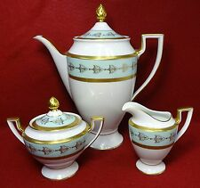 ROYAL TETTAU china EMPRESS china Coffee Pot, Creamer & Sugar Gold Fleur De Lis