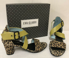 Eva & Claudi Sandal Summer Party Leopard Blue Green 2 Inch Heel Italian