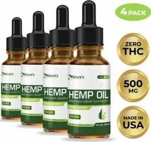 New LOT Of 4 Nature's Landscape HEMP OIL 1fl Oz 30 ML 500MG Pain Relief USA Made