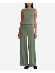 RALPH LAUREN $155 Womens New 1775 Green Zippered Darted 4 Button Jumpsuit M B+B