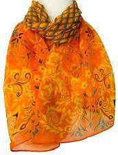 Orange Scarf Ladies Floral Flower Print Wrap Yellow Turquoise Blue Floaty