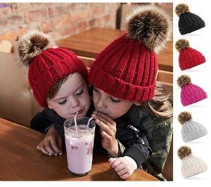 Toddler Junior Kids Infant Boys Girls Junior Beanie Bobble Pom Pom Winter Hat