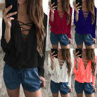 Women Ruffle Frill Top V-neck Lace Up Ladies Club Party T Shirt Blouse Plus Size