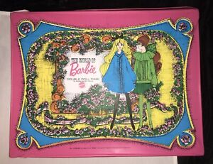 """Vintage 1968 Mattel PINK The World Of Barbie 17.5"""" Double Doll Case 1007 - NICE!"""