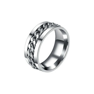 Stainless Steel Band Ring Spinner Ring Chain Ring for Womens Mens Punk Bar Party