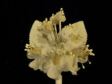 """Vintage Millinery Flower 1 1/4"""" All White Blossoms for Hat Wedding or Hair Y243"""
