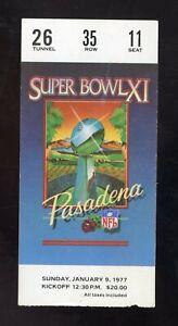 1977 Super Bowl XI Ticket Stub - Oakland Raiders Minnesota Vikings - EX/MT