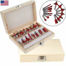"15Pcs 1/4"" Router Bit Set Shank Tungsten Carbide Rotary Tool With Case Box USA"