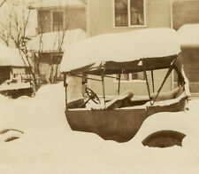 Wintry VINTAGE CAR Snapshot Photograph CLASSIC MOTORCAR Buried in Snow Christmas