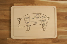 Personalized Engraved Chopping Cutting Board with Pork Cuts Pig Butcher Diagram