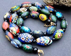 Vintage Venetian Murano millefiori lampwork glass bead necklace
