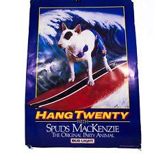 Vintage Bud LITE Budweiser Beer Poster Spuds Mackenzie Hang Twenty 1986