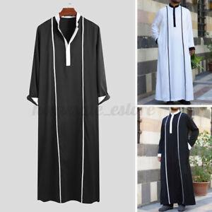 Men's Muslim Clothing Long Sleeve Saudi Jubba Arab Islamic Kaftan Long Thobe Top