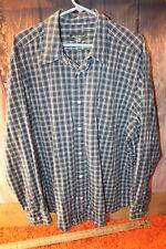 Eddie Bauer XL Cotton Blue Plaid Long Sleeve Button Men's Shirt