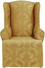 SURE FIT Matelasse Damask Wing Chair Slipcover - GOLD (SF46689) NEW