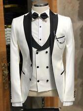 Men White Suit Designer Wedding Grooms Tuxedo Dinner Casual (Jacket+Vest+Pants)