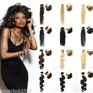 "7A  20"" Body Wavy/curly Remy Fusion Nail U Tip Keratin Human Hair Extensions"