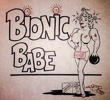 50-60s Bionic Babe bowling rock tattoo pin-up beer nude punk Vtg t-shirt iron-on