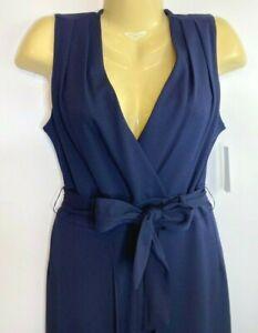 Shelby & Palmer Womens Size 8 Open Leg Surplice Jumpsuit Blue Belted Sleeveless