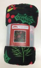 Plush Throw Blanket Holiday Botanical Design Great Gift For Christmas, New