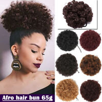 Afro Ponytail Puff Drawstring Wrap Synthetic Short Curly Hair Bun Updo Chignon J