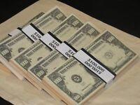 Prop Novelty Money Filler Packs 5 x $100K Solid Blocks.Legal Single Sided