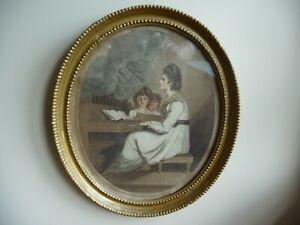 Antique Stipple Engraving Thomas Watson after Reynolds Mrs Sheridan St Cecelia