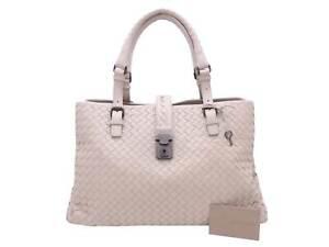 Auth BOTTEGA VENETA Intrecciato Roman Handbag Shoulder Bag Beige Leather e48347f