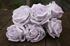 6 x VERY PALE LAVENDER COLOURFAST FOAM COTTAGE OPEN ROSES 6cm WEDDING FLOWERS
